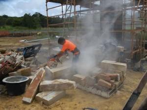Cutting sand stone blocks