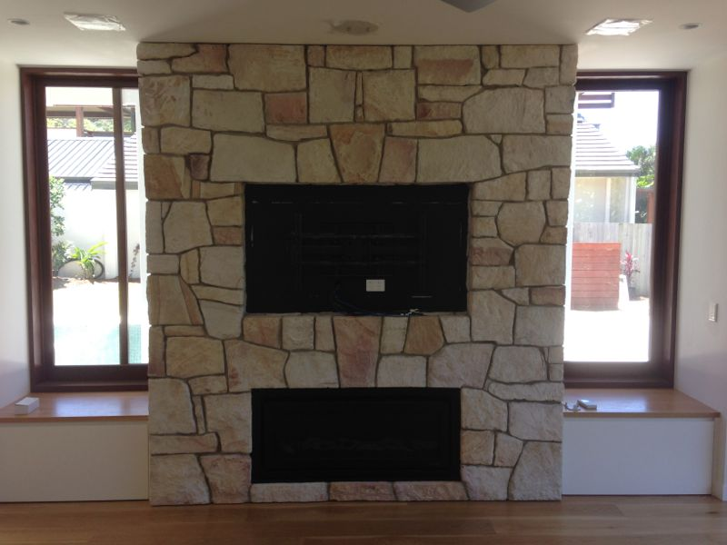 sand stone feature wall